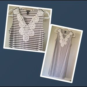 HAANI tan and white striped dress lace top detail